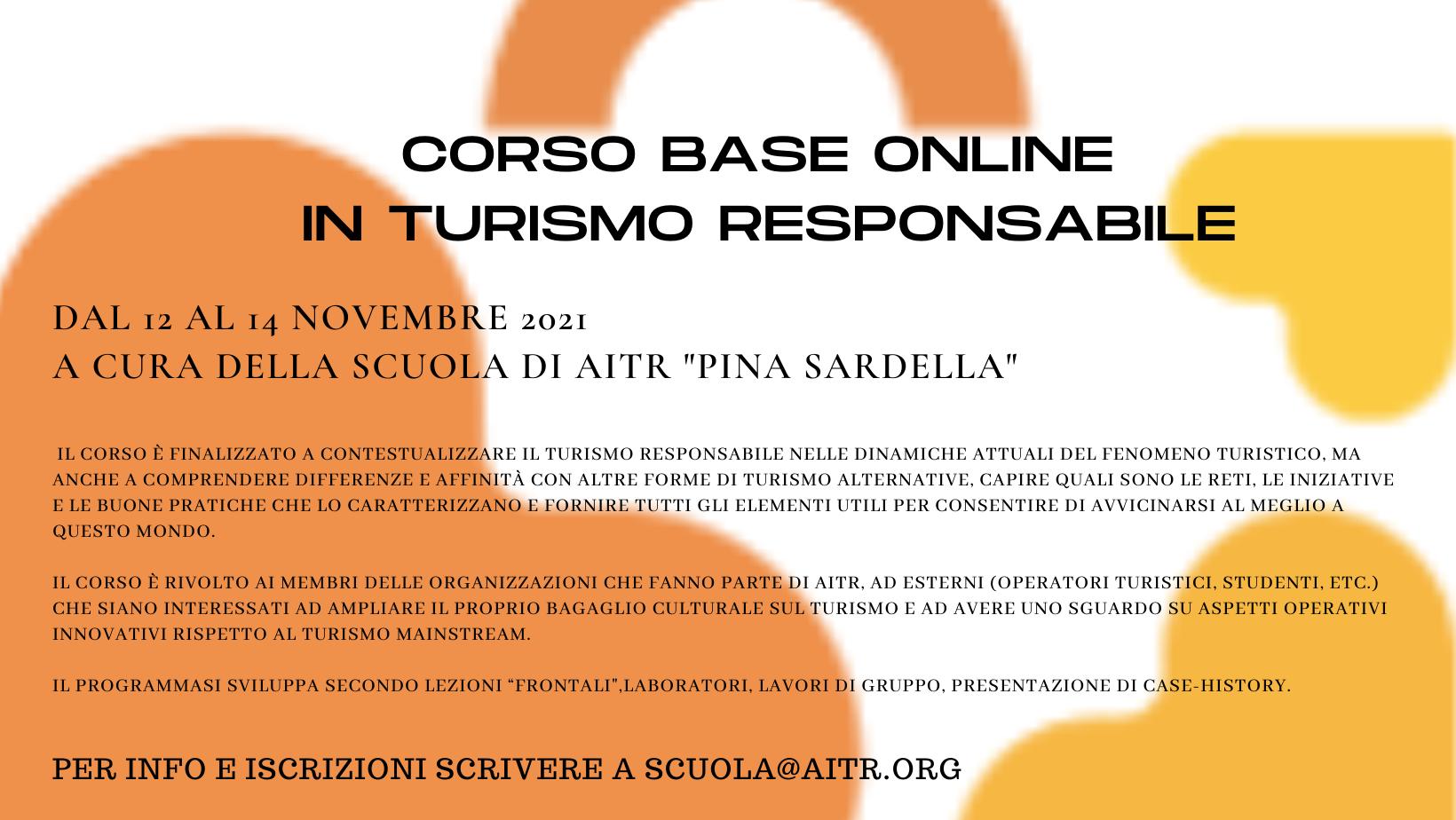 DAL 12 AL 14 NOVEMBRE TORNA IL CORSO BASE ONLINE DI AITR IN TURISMO RESPONSABILE